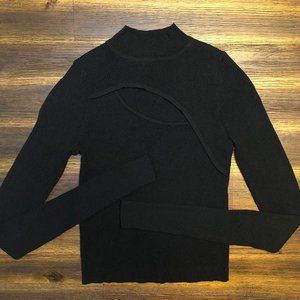 Zara Cut Out Black Crop Top w/ Long Sleeves